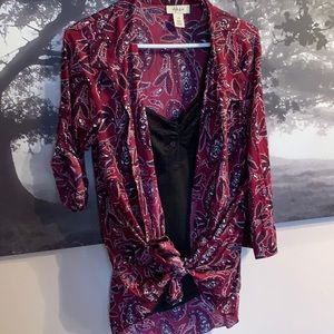 Paisley burgundy button up top